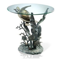 Sea Turtle End Table - This sea Tutle End Table is made of Aluminum and Glass