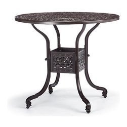 """Frontgate - Orleans Round Bar Table - Solid cast 100% ingot aluminum frame, a premium quality material. Hand-filed welds. Rust-resistant powdercoated frame with UV protected top coat. All-weather chocolate powdercoat finish. 2"""" umbrella hole with cap. Pull up to a table inspired by New Orleans' glorious French architecture. An exceptional level of craftsmanship is reflected in the solid cast table's elegantly embossed top and ribbed base.Part of the Orleans Collection. .  .  .  .  . Assembly required ."""
