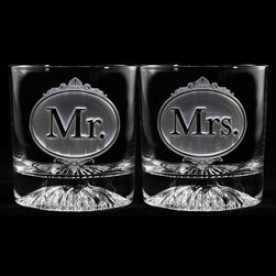 Crystal Imagery, Inc. - Mr. and Mrs. Whiskey Glasses, Set of 2 - Engraved Mr. and Mrs. Whiskey Glasses