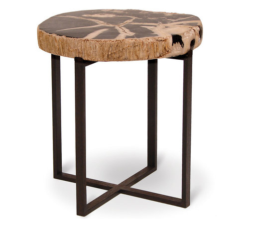Palecek - Black Petrified Wood Accent Table, Large - Legally harvested authentic petrified wood hand-cut and polished on iron base with black rust finish. Solid stone slab is loose on base. Each solid stone fossil is unique and will vary in size, pattern, and color. Pieces may have black and natural.