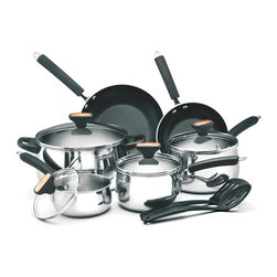 Paula Deen - Paula Deen Signature 12-piece Stainless Steel Cookware Set - You'll be cooking up a storm with this 12-piece stainless steel cookware set. It includes everything you'll need to bake,boil or fry your favorite dish,and the non-stick surfaces of the pans ensure a smooth cooking experience and easy clean up.