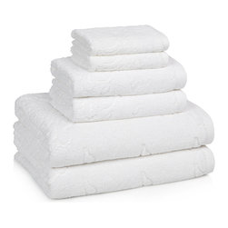 Roma Turkish Cotton Medallion Bath Towels - Soft plush jacquard medallions on a white background will add fresh style to any bath decor. The soft and absorbent Turkish Cotton will mix & match with the Linea Stripes Collection for even more design possibilities. Made in Turkey.  Reg $7.99 to $94.99.  On Sale now from $6.95 to $78.95