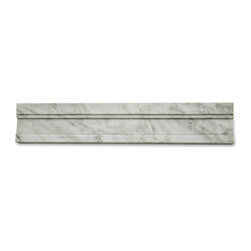 GlassTileStore - Novel Asian Statuary Chair Rail Marble Tile Liner - Novel Asian Statuary Chair Rail Marble Tile Liner               Natural Variation from Piece to Piece         Size: 2x12   Color: Asian Statuary   Material: Stone   Finish: Polished   Sold by the Piece   Thickness: 13mm x 19mm            - Glass Tile -