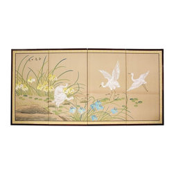 Oriental Unlimted - 36 in. Tall Birds on the Pond Silk Screen Wal - Screens may vary slightly in color. Birds on the Pond is a springtime motif, auspicious for the health of plants and animals. Subtle and beautiful hand-painted wall art for a fraction of the cost of a comparable print. Large hand-painted ink and watercolor silk screen. Song dynasty (10th century China) brush art style. Can be displayed as a privacy screen. Can be folded partly to stand upright on a table or floor. Crafted from silk covered paper, glued over 4 side-by-side lacquered wood frames. Matted with a fine Chinese silk brocade border. Comes with lacquered brass geometric hangers for easy mounting. Note that no 2 renderings are exactly the same. 72 in. W x 0.63 in. D x 36 in. H