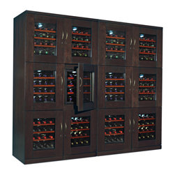 "Wine Enthusiast - Trilogy Quad Wine Cellar (Espresso Finish) - Trilogy Dual Wine Cellar. Convenience x 6. Two handsome furniture cabinets, each with three separate storage compartments. Ultra quiet thermoelectric cooling. Two separate units placed side-by-side. Thermopane glass door with metal handle and lock. Blue LED dome lights illuminate your bottles. Capacity: 96 bottles. Dimensions: 75-3/4""H x 41-1/2""W x 22-1/2""D. A master touchscreen control panel lets you adjust the temperature (54-66F) in, and power on/off, each individual storage area."