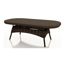 """Forever Patio - Leona 84 in. Round Wicker Dining Table, Mocha Wicker - There is no shortage of space or beauty when you dine with the Forever Patio Leona Wicker Patio 84"""" Oval K/D Dining Table with Glass Top (SKU FP-LEO-84ODT-MC). The mocha-colored wicker is UV-protected, and features two tones that give it a more natural, traditional look. Each strand of this outdoor wicker is made from High-Density Polyethylene (HDPE) and is infused with its rich color and UV-inhibitors that prevent cracking, chipping and fading ordinarily caused by sunlight. This outdoor wicker dining table is supported by thick-gauged, powder-coated aluminum frames that make it more durable than natural rattan. A beautiful tempered glass top is included, along with an umbrella hole so you can add your favorite shade to the dining table (umbrella not included)."""