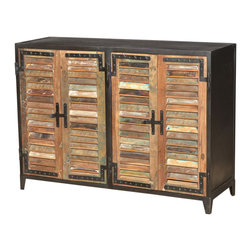 Marco Polo Imports - Constantine Sideboard - Elegant and exotic sideboard with a touch of industrial flair. Made from reclaimed wood with louvered shutter style doors, solid iron frame and hardware.
