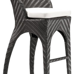 ZUO - Zuo Corona Outdoor Bar Chair - Belly up to the bar in your own backyard. Cocktails, beer or frozen margaritas all taste better sitting tall on your outdoor bar stool. UV treated and water resistant, these sexy black weave bar chairs, paired with sister bar table, will make a splendid addition to your outdoor entertainment area.