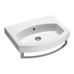 GSI - Curved Wall Mounted, Vessel, or Self Rimming Bathroom Sink, One Faucet Hole - Modern and contemporary curved rectangular bathroom sink that can mount as an above counter vessel, wall mounted, or self rimming sink. Sink made out of high quality ceramic with a white finish. Includes standard overflow and has option for a single faucet hole, three holes, or no faucet holes. Made in Italy by GSI.