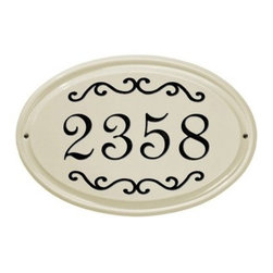 White Hall Classic Scroll Ceramic Oval Address Plaque - Brighten up the look of your outdoor decor with the White Hall Classic Scroll Ceramic Oval Address Plaque. This oval plaque is made with durable ceramic material and features a single line for your house number. Its scroll embellishments add visual appeal and are available in a variety of color options. Screw holes make it easy to install.About Whitehall ProductsWhitehall Products are known as the world's leading manufacturer of weathervanes and is equally as respected for their high quality personalized home wall plaques. They also offer a wide variety of mailboxes, garden accents, hose holders, birdbaths, bird feeders, sundials, and more. Each offers an original design and is hand cast for the highest quality product available. Based in Montague Michigan, Whitehall has been producing these popular products for over 65 years.