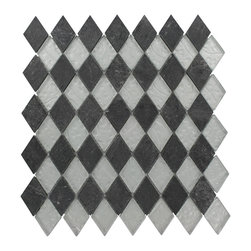 "Geological Diamond Black Slate & Silver Glass Tiles - Geological Diamond Black Slate + Silver Glass tiles This striking diamond design has a combination of black slate and metallic silver glass. These tiles are mesh mounted and will bring a sleek and contemporary clean design to any room. Chip Size: 1 1/2 x 2 Color: Black and Metallic Silver Material: Slate and Glass Finish: Frosted and Polished Sold by the Sheet - each sheet measures 11""x12"" (0.92 sq. ft.) Thickness: 8mm"