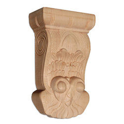 """Inviting Home - Bangor Large Wood Corbel - Red Oak - wood corbel in red oak 9-1/8""""H x 2-3/4""""D x 5-1/2""""W Corbels and wood brackets are hand carved by skilled craftsman in deep relief. They are made from premium selected North American hardwoods such as alder beech cherry hard maple red oak and white oak. Corbels and wood brackets are also available in multiple sizes to fit your needs. All are triple sanded and ready to accept stain or paint and come with metal inserts installed on the back for easy installation. Corbels and wood brackets are perfect for additional support to countertops shelves and fireplace mantels as well as trim work and furniture applications."""