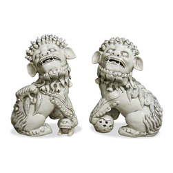 China Furniture and Arts - Porcelain White Foo Dogs - As fantasy lions of Chinese mythology, Foo Dogs always stand in pairs to serve as guardians to prevent harmful things from happening to the family. This pair is painstakingly hand made by skilled craftsmen in China. Great to display on a mantel or side table as a symbolic Asian accent.