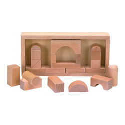 The Original Toy Company - The Original Toy Company Kids Children Play Architect Blocks - Nice 24 piece travel size wooden block set in wooden case. Age: 3 yrs & up. Warning: May Contain Small Parts.