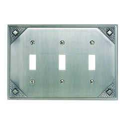 Atlas - Craftsman Triple Toggle Switch Plate - MCTT-P - Manufacturer SKU: MCTT-P. Projection: 0.37 in.. Made from metal. 4.5 in. L x 6.75 in. W