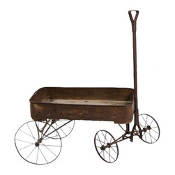"Wagon 1920s - Turn of the Century Gendron Iron Express Wagon 1920s. 36"" w x 18"" d x 19"" top of wagon, 42"" top of handle"