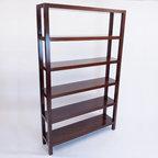 Five Tier Brown Wooden Bookshelf - Dimensions: W 48''  × H 78''  × D 12''