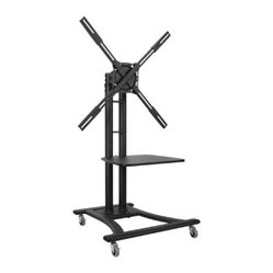Atdec - Telehook Mobile TV Cart - The Telehook TH-TVCB mobile cart is designed for presentation and education applications.  It supports a wide range of heavy weight displays (up to 110 lbs. or 50kg) thanks to its versatile universal mounting head.  It is designed for quick and easy assembly  includes internal cable management and comes with a height adjustable shelf for use with modern media devices.  Combining maneuverability with a vast range of display movement and height adjustability  it is the perfect solution for any application where you frequently need to maneuver a medium to large display.  This item cannot be shipped to APO/FPO addresses. Please accept our apologies.
