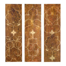 Uttermost Scrolled Hand Painted Panels Set/3 - No frame but sides are painted black. Frameless hand painted panels on hard board with outer edges painted black. Due to the handcrafted nature of this artwork, each piece may have subtle differences.