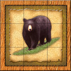 The Tile Mural Store (USA) - Tile Mural - Lodge Black Bear 1   - Kitchen Backsplash Ideas - This beautiful artwork by Dan Morris has been digitally reproduced for tiles and depicts a framed bear.    A bear tile mural would be perfect as a part of your kitchen backsplash tile project or your tub and shower surround bathroom tile project. Bear images on tile make a great kitchen backsplash idea and are excellent to use in the bathroom too for your shower tile project. Consider a tile mural with bear pictures for any room in your home where you want to add wall tile with interest.