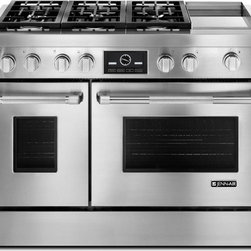 "Jenn-Air® 48"" Pro-Style® Dual-Fuel Range with Griddle and MultiMode® Convection - Designed to help you achieve exceptional flavors, the Jenn-Air® Pro-Style® 48"" Dual-Fuel Range features two 20,000 BTU burners, which offer power and precision. It also has a high-performance, chrome-infused griddle and a 7-inch full color touch-anywhere LCD display."