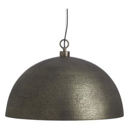 Rodan Pendant - Textured metallic bowl pours sunny light over a dining table or any home setting with design-statement drama. Interior is bathed in a warm golden glow, outside the hammered surface details shimmer in shifting pewter shades. At its best with a historic Edison bulb (not included).