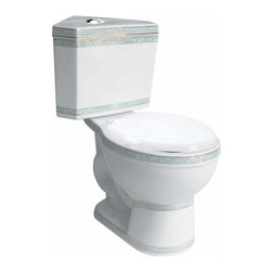 Renovators Supply - Corner Toilets White Corner Toilet Dual Flush Round White/Mint | 20340 - Corner Dual Flush Toilets White and Mint 24k Gold Trim: By using Dual Flush technology the EPA estimates homeowners save up to 25,000 gal. of water a year. How? Use 0.8 LOW flush for liquids and 1.6 HIGH flush for solid waste. Control your water usage to SAVE money and conserve water. Our G-Force high efficiency flush system technology lets you flush only ONCE! Eliminate the need to double flush. Ergonomic Perfect Height and round bowl makes using it safe and puts less strain on your body. Includes plastic toilet seat and EASY top flush plastic faux chrome button. 29 inch H x 12 inch along wall x 30 inch overall projection from tank corner to bowl edge.