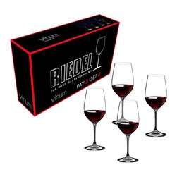 Riedel - Riedel Vinum Riesling / Zinfandel Pay 3 Get 4 Glasses - Set of 4 - Don't miss this fabulous bang for your buck. This Riedel Buy 3, get 4 bonus pack of Vinum Zinfandel/Riesling Grand Cru glasses gives you 4 glasses for the price of 3. The size and shape of these Riedel Zinfandel/Riesling glasses command attention with their multi-functional nature. Perfect for Zinfandel, Chianti Classico and Sangiovese, as well as Riesling, Vouvray and Gruner Veltliner, these glasses maintain an important place in the ever popular Riedel Vinum collection. Introduced in 1986, the Riedel Vinum line was the first machine-made series of glasses in history to be based exclusively on the characteristics of grape varietals. The Vinum series has had a strong and permanent impact on the wine glass culture around the globe. These glasses have proven to consumers and restauranteurs that the pleasure of consuming wines starts with the glass. Developed by 10th generation Georg Riedel on the principle that the contents commands the shape, Vinum is great for everyday use. These glasses are made of lead crystal.