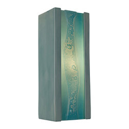 A19 - Bubbly Wall Sconce Teal Crackle and Turquoise - Colorful, fun and effervescent, this ceramic wall sconce frames a stream of bubbles trapped between layers of recycled window glass. Light shines from the open top and bottom of the small and compact rectangular base and adds to the illusion of a cascading stream of light overflowing with bubbles.