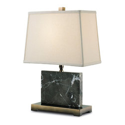 Currey and Company - Pendle Table Lamp - A petite brass and black marble table lamp with brass accents. The shade is black shantung.