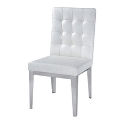 Nuevo Living - Herness Dining Chair (Set of 2), White - Fine cuisine deserves luxury seating, and you simply can't find anything more sumptuous than this. A high-backed chair upholstered in button-tufted top-grain leather looks elegant and feels like a dream.