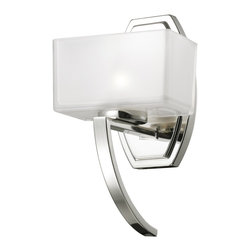 Z-Lite - Z-Lite Cardine Bathroom Light X-V1-5003 - A single vanity light displayed in a square cube glass shade frosted white inside and clear outside, with a chrome finish for a fresh and modern look.