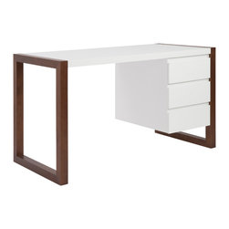 Eurostyle - Manon Desk - White/Dark Walnut - With same walnut and white design cues as our other Manon pieces, the desk has that same great combination of real wood and the white surface. It features rectangular legs and three generously sized drawers. Computer? Reception? Anywhere.