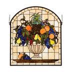 Meyda - 25 Inch Width 29 Inch Height Fruitbowl Windows - Color theme: Beige Orange Flame LA