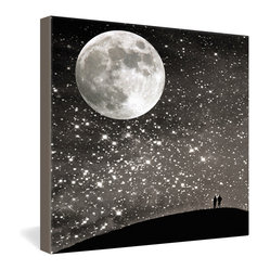 DENY Designs - Shannon Clark Love Under The Stars Gallery Wrapped Canvas - A full moon and a dazzling spray of stars shower heavenly light over the sky-gazing couple silhouetted far below. Shannon Clark's romantic photo image is dye-printed onto a 1 1/2-inch-deep frameless canvas for display. Black and white and twinkling all over, this piece would not be amiss among a minimalist modern decor scheme, but would look beautiful just about anywhere.