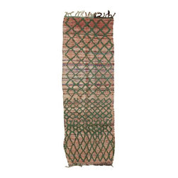 """Pre-owned Coral & Green Boucherouite Runner - 2' 9"""" x 7' 11"""" - A classic color combination, this vintage, one-of-a-kind rug features a lattice like pattern in green and pink that Lily Pulitzer would enjoy. This boucherouite was woven by Berbers of the Atlas Mountains. The rich effect of color is matched amply by the sumptuously thick, tactile pile, making it a kind of modernist painting in wool. Clean professionally. Made of a Wool/Cotton/Poly blend, weighing approximately 10 lbs."""