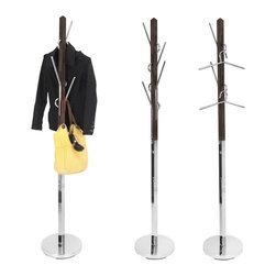 Lumisource - Hang It Coat Tree - Espresso, Brushed Nickel - Includes 1 coat rack. This unique coat rack offers a modern look of wood and chrome that creates a functional storage piece and a great way to hang your belongings. The hooks can double as hangers for your outerwear and are also interchangeable for easy use.. 13.25 in. Diam. x 73.5 in. H