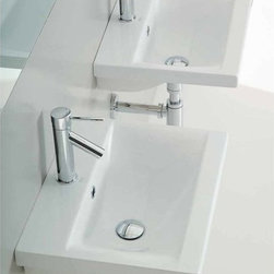 Althea - Rectangular White Ceramic Wall Mounted or Self Rimming Bathroom Sink - Rectangular white ceramic self rimming or wall mounted sink. Sink comes with overflow and one pre drilled hole. Made in Italy by Althea. Made out of white ceramic. Contemporary design. Includes overflow. One Hole. Standard drain size of 1.25 inches. Because the sink has multiple installations, the back side is not glazed.