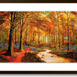 Art of Silk - Yellow Maples - Hand Designed Silk Art, Silk Embroidery - Silk embroidery art was invented in China over 2,500 years ago. This high quality silk art is created using embroidery techniques developed from the world famous Suzhou style of silk embroidery. Each piece contains over 100,000 stitches on average.