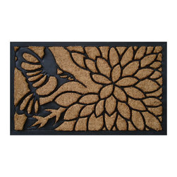 "A1 Home Collections - ""Bird Pecking On A Flower"" Designer Doormat - This charming rubber and coir mat is durable and has thousands of coir bristles embedded in a rubber base that help capture and remove dirt and moisture from shoes. This mat is an excellent addition to your home."