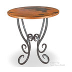 """Mathews & Company - Milan 36"""" Counter Table with 34"""" Round Top - Pictured in Copper top and Aged Pewter finish."""