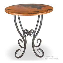 "Mathews & Company - Milan 36"" Counter Table with 34"" Round Top - Pictured in Copper top and Aged Pewter finish."