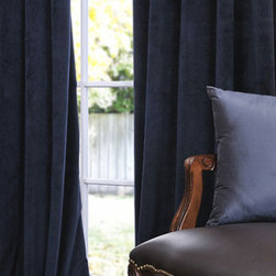 Half Price Drapes - Signature Midnight Blue Blackout Velvet Pole Pocket Single Panel Curtain, 50 X 9 - - Soft plush pile Velvet Curtains have a natural luster with a depth of color that creates a formal, polished look. Made of high-quality, poly velvet and soft flowing polyester blackout thermal lining. The curtains keep the light out and provides for optimal insulation.   - Single Panel   - 3 Rod Pocket   -   - Pole Pocket with Back Tab & Hook Belt Attached. Can be hung using rings. (Not Included)   - Dry clean   - 100% Poly Velvet   - Lined with a 100% Polyester Plush Blackout Material   - 50x96   - Imported   - Blue Half Price Drapes - VPCH-194023-96