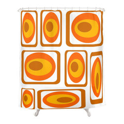 Crash Pad Designs - Shower Curtain Mid Century Modern Inspired - The fun doesn't have to stop at the bathroom door. Our mid century modern shower curtain will make your bathroom smile.