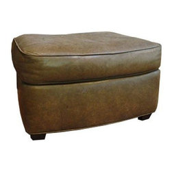 Used Ted Boerner Cello Ottoman - This ottoman is upholstered in olive colored leather and was purchased circa 2000s. There are a few minor scratches and some wear that are consistent with age and the nature of leather. The item was featured in San Francisco's De Sousa Hughes showroom.    A matching chair is also available, listed separately. Please see seller's other listings.