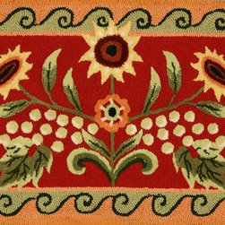 """Homefires - Contemporary Tuscan Sunflower & Poppy 1'11""""x3'8"""" Rectangle Red Area Rug - The Tuscan Sunflower & Poppy area rug Collection offers an affordable assortment of Contemporary stylings. Tuscan Sunflower & Poppy features a blend of natural Red color. Hand Hooked of Polyester the Tuscan Sunflower & Poppy Collection is an intriguing compliment to any decor."""