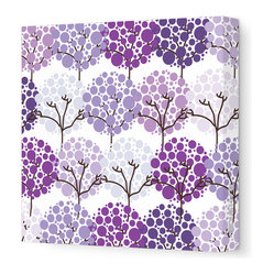 "Avalisa - Imagination - Park Stretched Wall Art, 18"" x 18"", Purple - To inspire your little one's imagination and encourage his love of nature, simply hang this stretched wall art in his favorite space. Delicate trees with bubbly blooms are guaranteed to bring smiles and sweet daydreams."