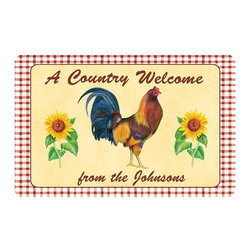 Bungalow Flooring - 18 in. L x 27 in. W Surfaces Country Rooster Cushion Mat - Made to order. Graphic mat adds comfort and style. Machine washable. For indoor use. 18 in. L x 27 in. W x 0.3 in. H