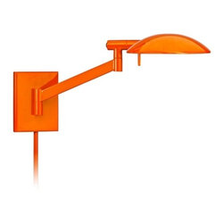 "Sonneman - Sonneman Perch Gloss Orange Plug-In Pharmacy Wall Lamp - This contemporary plug-in wall lamp from Robert Sonneman features a modified pharmacy lamp design and a bright gloss orange finish. Ideal anywhere you need more light for reading or other tasks. The head rotates 350 degrees and the shade rotates 180 degrees. A high/low switch lets you choose your light level. Metal plug-in wall light. Gloss orange finish. 350 degree head rotation. 180 degree shade rotation. Includes one 75 watt G9 Xenon bulb. 10 high. 19 1/2"" wide. Extends 18 1/2"". Metal shade is 1"" high and 8"" wide. Includes cord cover.  Metal plug-in wall light.   Gloss orange finish.   350 degree head rotation.   180 degree shade rotation.   Includes one 75 watt G9 Xenon bulb.   10"" high.   19 1/2"" wide.   Extends 18 1/2"".   Metal shade is 1"" high and 8"" wide.  Includes cord cover."