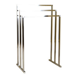 DecorSuite - Pedestal 3-Tier Iron Construction Towel Rack, Satin Nickel - With its stylish European design, the Pedestal 3-Tier Towel Rack will stand out in your bathroom. The 3-tiers each provide up to 2 feet of space that can be used to hang towels, clothing, or other accessories. The towel rack is constructed from iron for usage for years to come.
